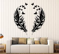 Vinyl Wall Decals For Bedroom Vinyl Wall Decal Feathers Butterfly Love Romantic Bedroom Design
