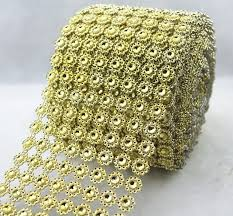 mesh ribbon table decorations 8 row sunflower rhinestone mesh ribbon gold diamante wedding table