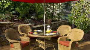 Glass Patio Table With Umbrella Hole 48 Round Glass Table Top With Umbrella Hole Oakland Living