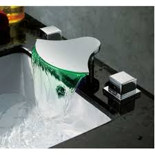 Bathroom Waterfall Faucet by And Cold Water Mixer Bathroom Faucet With Led Color Changing Light
