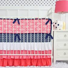 Navy And Coral Baby Bedding Baby Nursery Coral And Teal Floral Crib Bedding Ba Bedding
