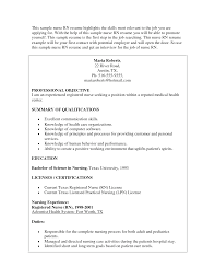 Icu Nurse Job Description For Resume by Sample Rn Resumes Free Resumes Tips