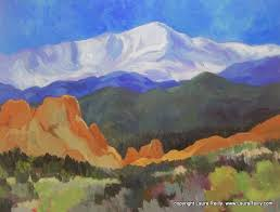 Pikes Peak Urban Gardens - pikes peak and garden of the gods painting by laura reilly