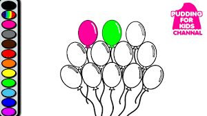 learn colors with balloon coloring book page and paint art game