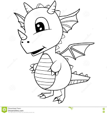 cute black and white cartoon baby dragon stock vector image