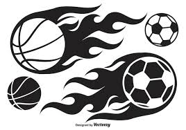 basketball and soccer ball on fire download free vector art
