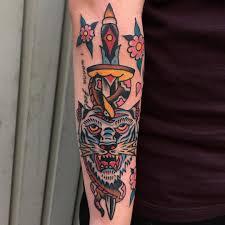 snake tiger tattoo tiger and dagger old town tattoos palma de mallorca spain