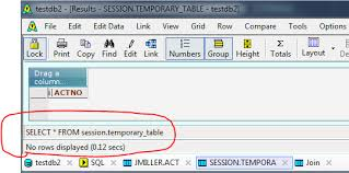 sql db2 can u0027t insert or select from temporary table stack