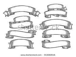 engraved ribbon set ribbons isolated on white background stock vector 553069516