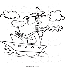 vector of a cartoon man on a tiny ship outlined coloring page by