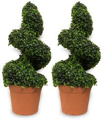artificial topiary trees gardens and landscapings decoration woodside artificial topiary swirl trees 2 pack