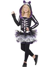 skeleton cat costume childrens halloween fancy dress costume ages