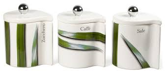 modern kitchen canister sets vivere green 3 canister set modern kitchen