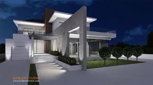 architectural visualization luxury modern suburban house