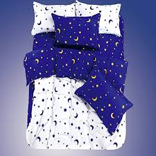 Stars Duvet Cover Ttmall Twin Full Queen Size Cotton 4 Pieces White Blue Yellow