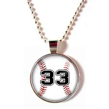 baseball jewelry cabochon glass baseball necklace with your number
