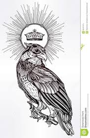 detailed hand drawn bird of prey with a crown stock vector