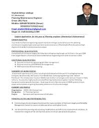 Career Objective For Resume Mechanical Engineer Planning Engineer Resume Of Shahid Akhtar Siddiqui