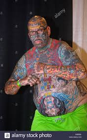 portrait of ink man at the new york tattoo festival in uniondale