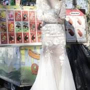 long sleeve winter wedding gown open low back wedding gown with train