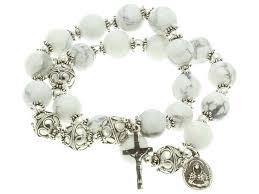 bracelet elastic silver images Sterling silver double elastic rosary bracelet howlite 10mm beads jpg