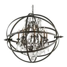 Iron Orb Chandelier Crystal Orb Chandelier Pendant Light In Vintage Bronze Finish