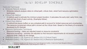 which is not an input of the develop schedule process skillset