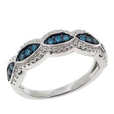 braided band 25ctw blue diamond sterling silver braided band ring 8522796 hsn