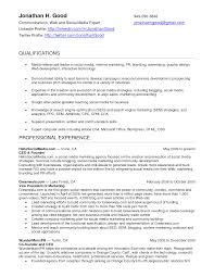 social media resume summary social media marketing resume