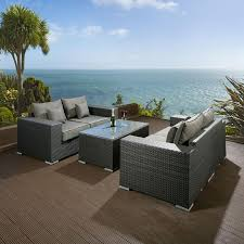 Rattan Settee Luxury Outdoor Garden 2 X 2 Seater Sofa Set Black Rattan Grey