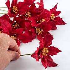 burgundy velvet artificial poinsettia picks picks and stems
