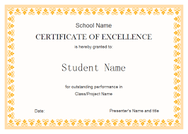 Free Certificate Of Excellence Template Excellent Award Free Excellent Award Templates