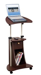 techni mobili deluxe rolling laptop cart with storage chocolate
