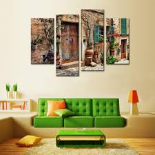 4 panels wall art spanish old town street canvas painting