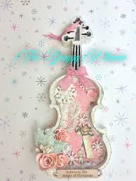 shabby chic violin shadow box ornament