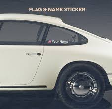 Flag Car Decals New Name And National Flag Window Decal Set Aase Sales Porsche