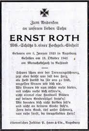 Totenzettel: MG-Schütze Ernst ROTH (2. Weltkrieg) - Onlineprojekt ... - Roth_Ernst