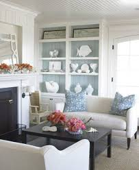 Cottage Style Living Rooms by Nautical Cottage Style Living Rooms With Built In Shelves And