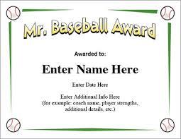mr baseball award certificate template little league