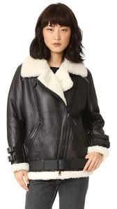 shop acne studios velocite shearling moto coat fashion