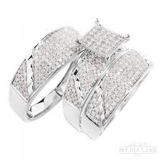 wedding ring trio sets white gold square diamond trio wedding ring set 1 10 ctw g h