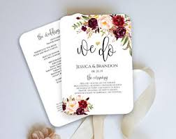 Fan Programs For Weddings Program Fan Template Etsy