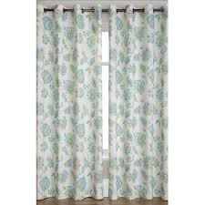 Curtains With Green White Fabric Curtain With Blue Floral And Leaves On Black Hook Of