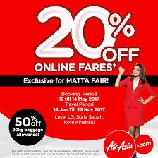 airasia travel fair airasia flight ticket 20 off online fares matta fair kota