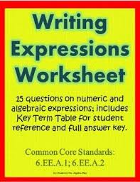 translating verbal expressions into algebraic expressions worksheets best 25 writing expressions ideas on writer workshop