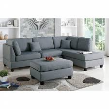 Reversible Sectional Sofa Chaise by Poundex 3 Pc Martinique Collection Grey Polyfiber Fabric