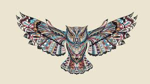 Patterned Flying Owl Drawing Illustration Patterned Flying Owl Drawing Illustration Wallpaper Wallpaper