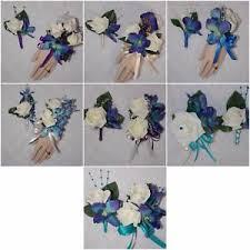 Turquoise Corsage 2pcs Corsage U0026 Boutonniere Set Blue Purple Orchid U0026 Off White Rose
