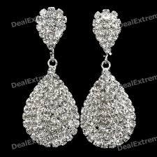 silver diamond earrings handmade imitated diamond water drop earrings