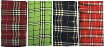 scottish plaid double pocket tri fold rollup tobacco pouch